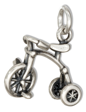 Sterling Silver 3D Tricycle Charm