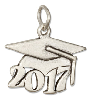 "Sterling Silver Year ""2017"" Graduation Cap Charm"
