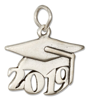 "Sterling Silver Year ""2019"" Graduation Cap Charm"