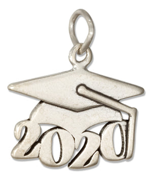 "Sterling Silver Year ""2020"" Graduation Cap Charm"