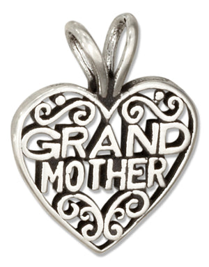 "Sterling Silver Filigree Heart with ""Grandmother"" Message Pendant"