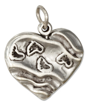 Sterling Silver Heart with Footprints Charm