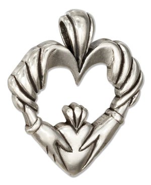 Sterling Silver Open Heart with Claddagh Pendant