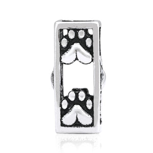 Sterling Silver Column Paws Dog Paw Prints with Hearts Slider Pendant