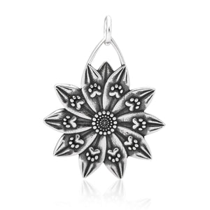 Sterling Silver Petal Paws Flower with Dog Paw Prints Pendant Charm