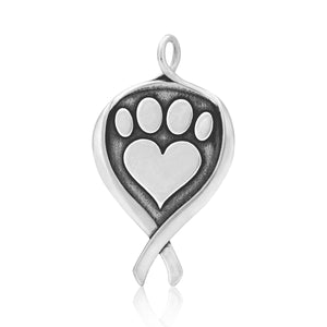 Sterling Silver K-9 Cancer Dog Cancer Awareness Pendant