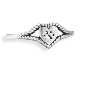 Sterling Silver Heart and Dog Paw Print Ring with Roped Edging