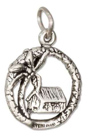 Sterling Silver Tropical Grass Hut Shack with Palm Tree Charm