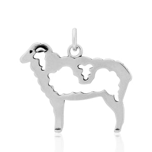 Sterling Silver Wooly Sheep Pendant
