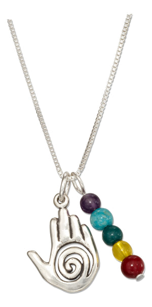 Sterling Silver 18 inch Healing Hand Pendant Necklace with Five Chakra Beads