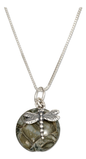 Sterling Silver 18 inch Dragonfly Pendant Necklace with Natural Green Jasper