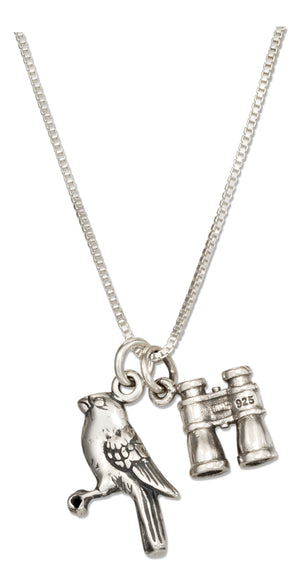 Sterling Silver 18 inch Binoculars and Bird Pendant Necklace