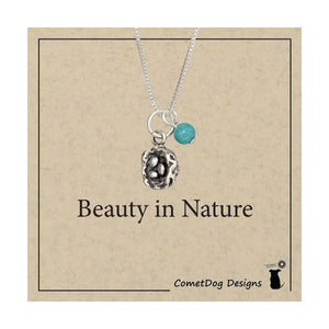 Sterling Silver 18 inch Bird Nest Pendant Necklace with Blue Riverstone Bead