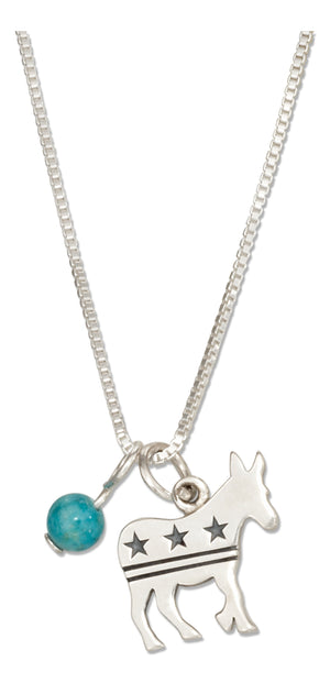 Sterling Silver 18 inch Democrat Donkey Pendant Necklace with Blue Riverstone Bead
