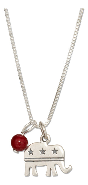 Sterling Silver 18 inch Republican Elephant Pendant Necklace with Red Riverstone Bead