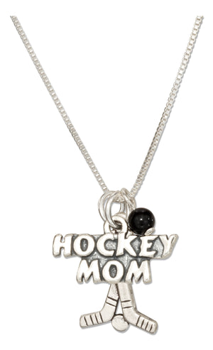 "Sterling Silver 18 inch ""Hockey Mom"" Pendant Necklace with Onyx Bead and Hockey Sticks"