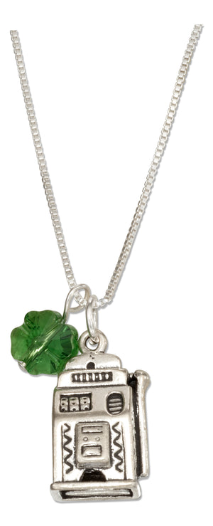 Sterling Silver 18 inch Lucky Slot Machine Pendant Necklace with Green Four Leaf Clover