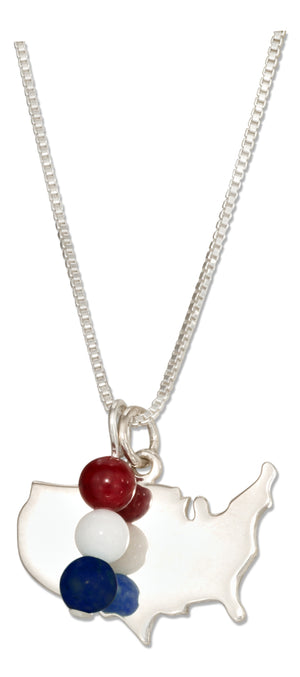 Sterling Silver 18 inch Usa Silhouette Pendant Necklace with Red White and Blue Beads