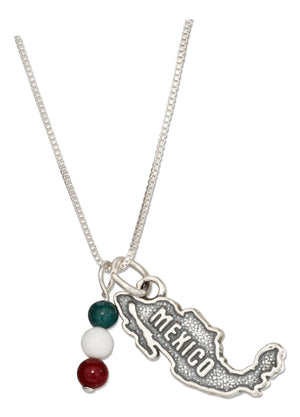 Sterling Silver 18 inch Mexico Map Pendant Necklace with Green White and Red Beads