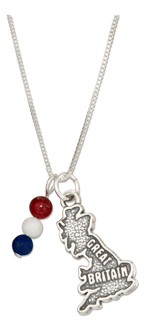 Sterling Silver 18 inch Great Britain Map Pendant Necklace with Red White & Blue Beads