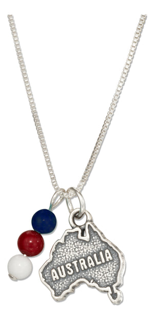 Sterling Silver 18 inch Australia Map Pendant Necklace with Blue Red and White Beads