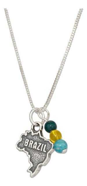 Sterling Silver 18 inch Brazil Map Pendant Necklace with Green Yellow and Blue Beads