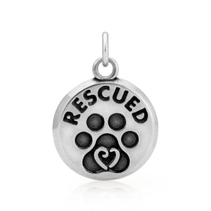 Sterling Silver Dog Rescued Pendant Charm with Paw Print and Scrolled Heart