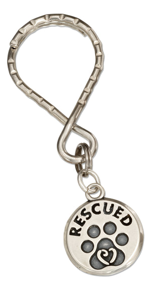 "Sterling Silver Paw Print ""Rescued"" Tag on Stainless Steel Teardrop Key Ring"