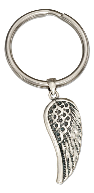 Sterling Silver Angel Wing on Stainless Steel Key Ring