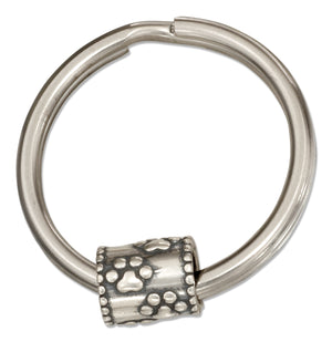 Sterling Silver Paw Prints Slider Bead on Stainless Steel Key Ring