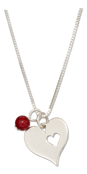 Sterling Silver 18 inch Heart with Heart Cutout Pendant Necklace and Red Bead