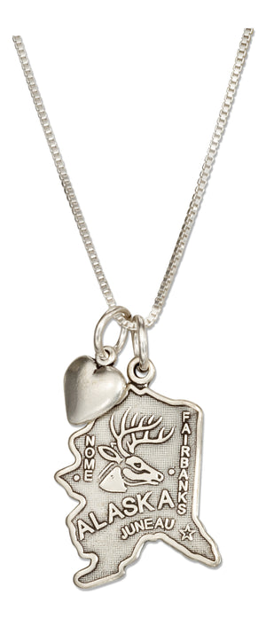 Sterling Silver 18 inch Alaska State Pendant Necklace with Heart Charm