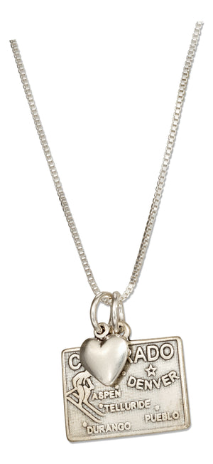 Sterling Silver 18 inch Colorado State Pendant Necklace with Heart Charm