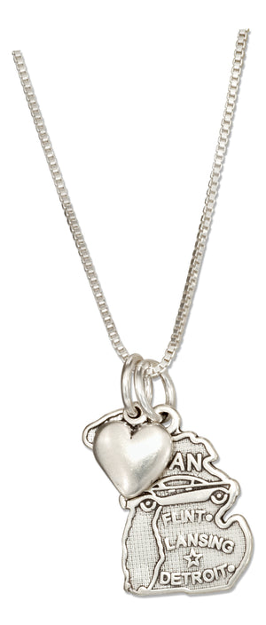 Sterling Silver 18 inch Michigan State Pendant Necklace with Heart Charm