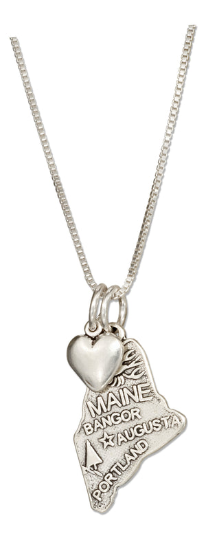 Sterling Silver 18 inch Maine State Pendant Necklace with Heart Charm