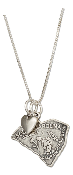 Sterling Silver 18 inch South Carolina State Pendant Necklace with Heart