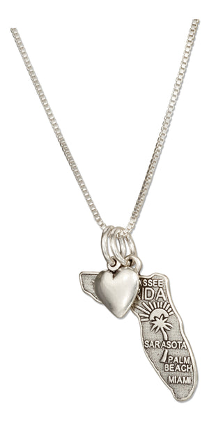 Sterling Silver 18 inch Florida State Pendant Necklace with Heart