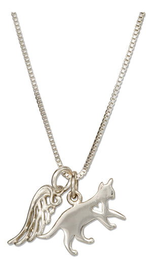 Sterling Silver 18 inch Cat with Heart Cutout and Angel Wing Outline Pendant Necklace