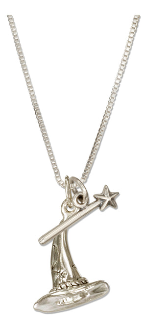 Sterling Silver 18 inch Wizard Hat and Magic Wand Pendant Necklace