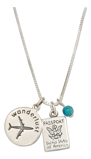 Sterling Silver 18 inch Wanderlust Pendant Necklace with Passport Charm and Blue Bead
