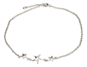 Sterling Silver 10 inch to 11 inch Adjustable Triple Center Starfish Anklet