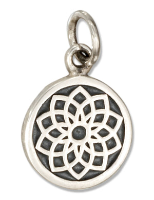 Sterling Silver Crown Chakra 7th Chakra Charm with Sahasrara in Sanskrit
