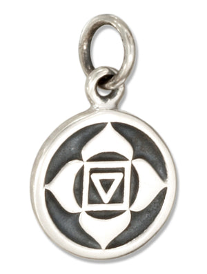 Sterling Silver Root Chakra 1st Chakra Charm with Muladhara in Sanskrit