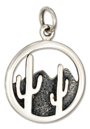 Sterling Silver Round Hill and Desert Cactus Scene Charm