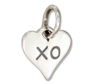 "Sterling Silver Tiny Kiss and Hug Heart with ""Xo"""
