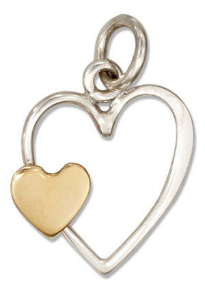 Sterling Silver Heart Charm with Small Bronze Heart