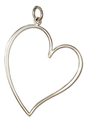 Sterling Silver Curvy Lopsided Offset Heart Outline Charm