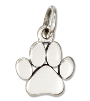 Sterling Silver Dainty Small Paw Print Charm