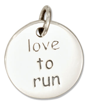 "Sterling Silver Round Two Sided ""Love To Run"" Charm"