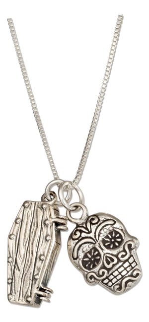 Sterling Silver 18 inch Coffin and Sugar Skull Pendant Day Of the Dead Necklace